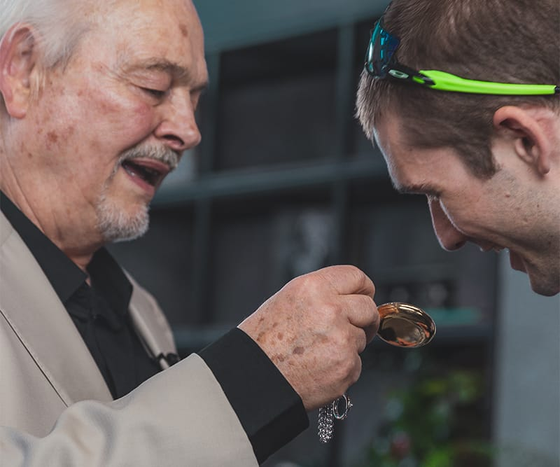 Philippe Dufour and Tim Mosso Look at a Pocket Watch